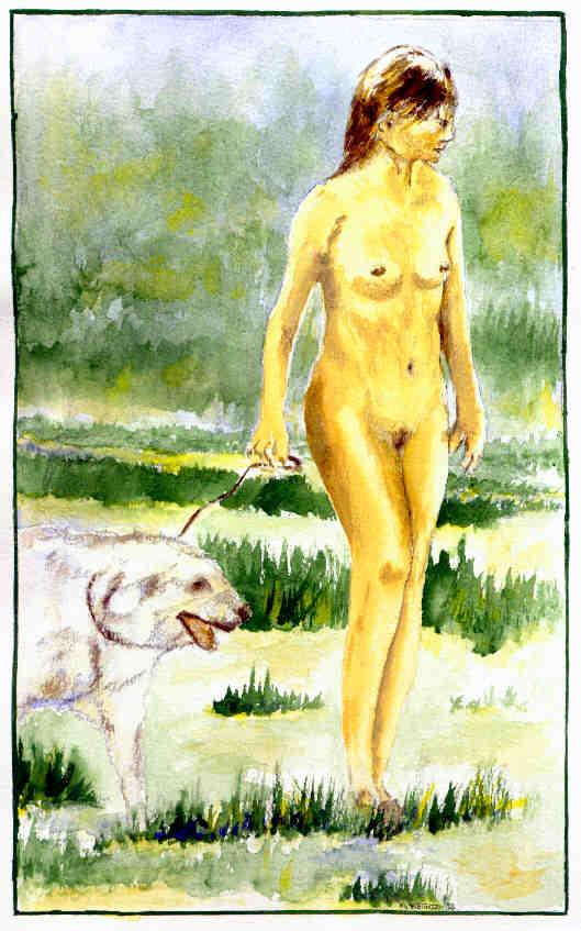 Mädchen mit Hund (Aquarell)