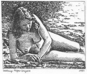 liegendes Mädchen am Strand (Federzeichnung)