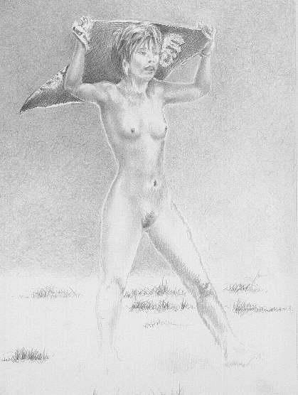 Mädchen mit Tuch (Bleistiftzeichnung)