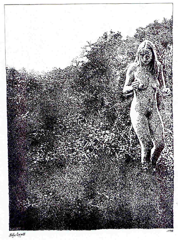 Mädchen in Landschaft (Federzeichnung)