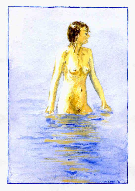 Mädchen im Wasser (Aquarell)