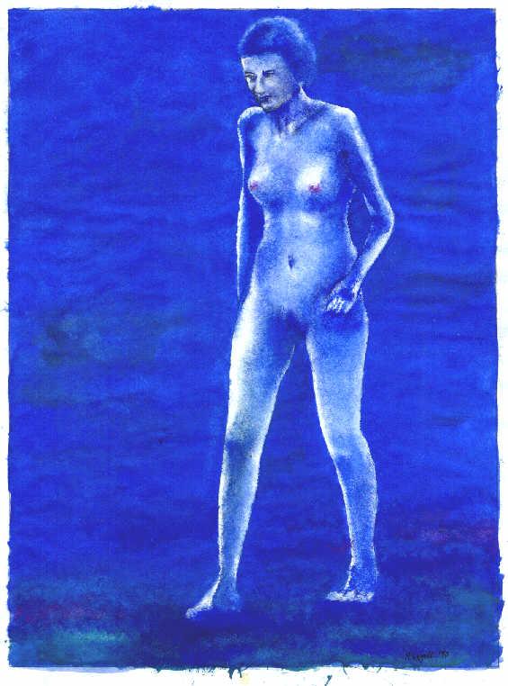 Mädchen in Blau (Deckfarben getupft)